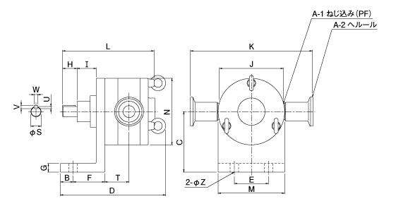 小型ラジアルベーンポンプ外形寸法